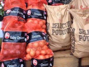 Nets of onions (and sacks of potatoes) are great value and will keep well in a cool dry dark place